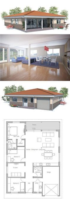 Small house plan to narrow and small lot. Covered terrace, spacious interior areas, garage. Small home design with the abundance of natural light. Floor Plan from ConceptHome.com