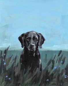 black lab dog art painting print  MOLLY DOG 13 x by tastesorangey, $45.00