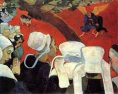 """tierradentro:  """"The Vision after the Sermon (Jacob Wrestling with the Angel)"""", 1888, Paul Gauguin."""