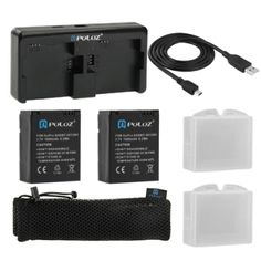 PULUZ 7 in 1 Accessories Charger Combo Kit (Batteries   Cable   Battery Charger   Mesh Bag) for GoPro HERO3  /3