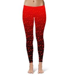 Red Hot Music Notes Leggings $37-Made in the USA #Saytoons