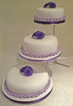 Purple Wedding Cakes | Lilac and Purple Rosebud Wedding Cake