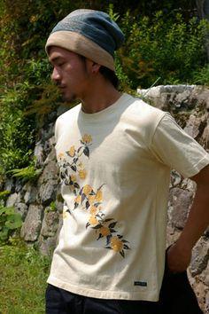 ヘンプコットン手描きTシャツ 山吹 ~やまぶき~|麻と柿渋染め・草木染めのみつる工芸