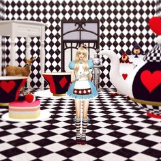Marie Rose's Halloween Alice in Wonderland outfit conversion at Dominationkid • Sims 4 Updates