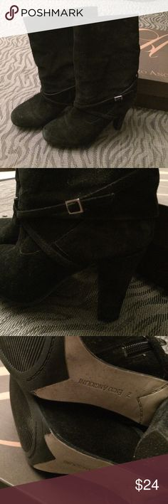 """*CLOSET CLEAR OUT* ENZO ANGIOLINI Suede Boots ENZO ANGIOLINI Eaemme Black Boots.  Black suede leather boots/booties with very comfortable 3"""" heel.  Pre-loved with some wear on toes as seen in first photo. Enzo Angiolini Shoes Ankle Boots & Booties"""