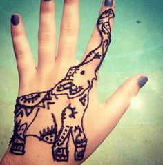Cutest elephant henna tattoo <3