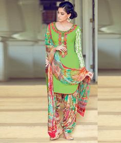 Buy Green Cotton Satin Patiala Suit 70173 online at lowest price from huge collection of salwar kameez at Indianclothstore.com.