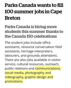 @parks.canada IS HIRING From @cbcns  Parks Canada wants to fill 100 summer jobs in Cape Breton Parks Canada is hiring more students this summer thanks to the Canada 150 celebrations  Parks Canada in Cape Breton is looking for 100 students who love the outdoors manual labour and greeting the public as it hires more students than usual this summer to help celebrate Canada 150. . Summer student hires are up 60 per cent according to Eddie Kennedy visitor experience manager at the Fortress of…
