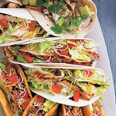 Coat chicken breast halves in a spicy mixture of chili powder, cumin, and crushed red pepper, grill, and serve in flour tortillas. Top with your favorite taco toppings—lettuce, tomato, cheese, cilantro—for a one-dish Mexican meal.