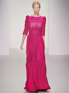 Pink maxi dress with lace detailing, Bora Aksu