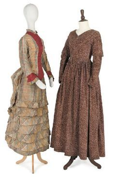 Philadelphia Museum of Art - 1883 girls dress | Left: Young girl's day dress of brown plaid silk with ruched burgundy ...