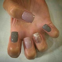 Our favorite nail designs, tips and inspiration for women of every age! Great gallery of unique nail art designs of 2017 for any season and reason. Find the newest nail art designs, trends & nail colors below. Get Nails, Fancy Nails, Love Nails, How To Do Nails, Hair And Nails, Gold Sparkle Nails, Nude Sparkly Nails, Cute Fall Nails, Pink Grey Nails
