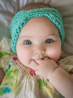 Ravelry: Little Everly Head Wrap pattern by Mamachee   LOVE this little face :)