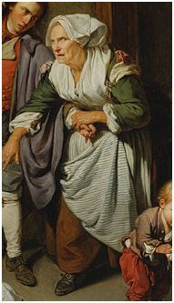 """Detail of """"Broken Eggs"""" by Jean-Baptiste Greuze, 1756. Women -- Clothing & dress -- 1700-1799 -- France. 18th century, French. She is wearing a white chemise, brown petticoat (skirt), green bodice with tied-on sleeves, white neckerchief, a white & blue striped apron, and black leather shoes with laces. She wears a white cap that appears to be made of several layers of stiffened cloth pinned together (possibly a cap or caul with 2 napkin-like pieces pinned over it?)"""