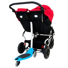 Mountain Buggy duet double stroller with freerider buggy board and scooter to transport up to 3 kids