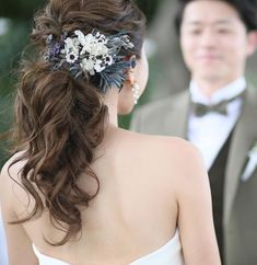 pretty hairstyles for homecoming Elegant Hairstyles, Bride Hairstyles, Pretty Hairstyles, Wedding Hair And Makeup, Hair Makeup, Japan Hairstyle, Bridal Hair Inspiration, Flower Crown Hairstyle, Bridal Hairdo