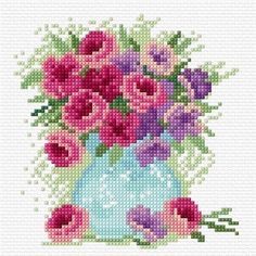 Flowers in a vase - Lesley Teare Needlework and Cross Stitch Chart Design Ribbon Embroidery, Cross Stitch Embroidery, Embroidery Designs, Cross Stitch Tree, Cross Stitch Flowers, Cross Stitch Designs, Cross Stitch Patterns, Stitches Wow, Cross Pictures