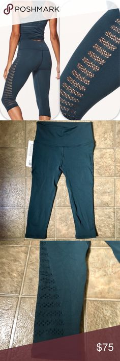 NWT Lululemon Reveal Crop Size 4 Reveal crop from lululemon. Beautiful teal color with laser cut pattern down the sides. New with tag attached. lululemon athletica Pants Leggings