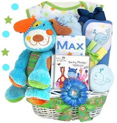 16 best personalized baby gifts images on pinterest baby gift personalized puppy fun in the barnyard baby gift basket boy negle Choice Image
