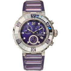 Swarovski 1088675 Silver-Tone & Purple Watch ($460) ❤ liked on Polyvore featuring jewelry, watches, purple, steel jewelry, quartz movement watches, steel watches, purple jewellery and silver tone jewelry