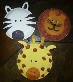 Paper plate zoo animals. I really like the lion who has a felt face.: