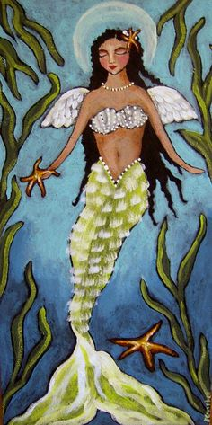 "All Things Coastal Sea Glass| Serafini Amelia| Coastal Living-""Angel of the Sea Mermaid"" by CampbellJane"