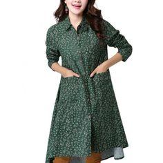 Folk Style Women Lapel Long Sleeve Button Floral Print Irregular Dress