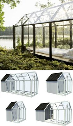Fashioned from a prototype prefab garden greenhouse, this garden shed sleeps two by night and engages its gorgeous natural environs on all sides by day