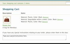 Your cart page showing three cart items