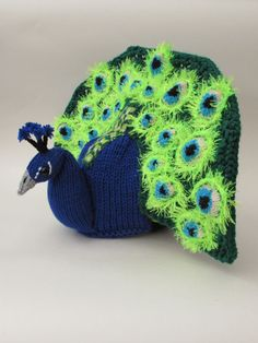 Peacock Tea Cosy Knitting Pattern by TeaCosyFolk on Etsy