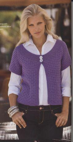 Knitting Machine Patterns, Knitting Patterns, Crochet Cardigan, Knit Crochet, Knit Vest Pattern, Sleeveless Cardigan, Madame, Free Knitting, Casual Wear