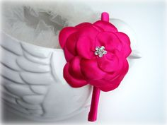 Headband Fushia Hot Pink Flower - Crystal Rhinestone - Bridal Bridesmaids Flower girls - Many colors. $28.00, via Etsy.  For Kira