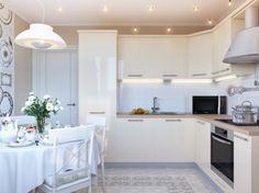 cream gloss kitchen cabinets