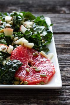 orange tahini dressing and kale citrus salad // edible perspective