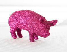 Hot Pink Pig Wedding Table Decoration Farm House Centerpiece for Spring Entertaining Glitter Tablescapes for Birthdays or Showers