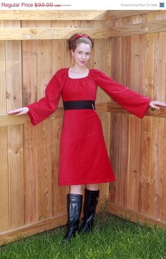 ON SALE 15 off red dress warm dress winter by SweetHomeBoutique, $76.50