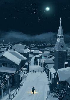 Beautiful snowy landscape. toelle:  by huashengl