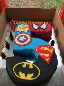 Live.. Learn.. Laugh: Ali's 5th Superhero Birthday Party! Superman Birthday Party, 5th Birthday Cake, Avengers Birthday, Watermelon Birthday Parties, 1st Birthday Parties, Birthday Ideas, Superhero Cake, Superhero Treats, Dessert Party
