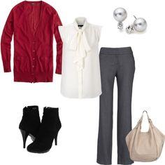 gray pants, white ruffle shirt, red cardigan