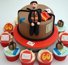 A 6 inch classic vanilla cake with matching cupcakes for a birthday. i wanted to reflect the royal mail theme without it looking kidish so used brown for the main cake as a dominating colour and made it to look like the postman is sitting on. Post Box Cake, Cake Cookies, Cupcakes, 60th Birthday, Vanilla Cake, Party Planning, Cake Decorating, Desserts, Foodies