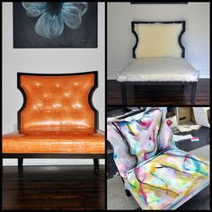 diy painted fabric chair for breast cancer awareness- Life Over Easy
