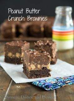 Peanut Butter Crunch Brownies - A fudgy brownie, topped w/ a layer of peanut butter cups, & then a layer of chocolate/peanut butter crispy fudge.  Pure chocolate and peanut butter heaven!