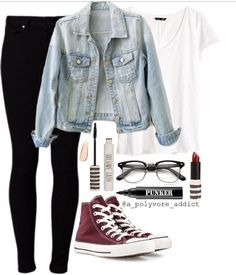 Jean jacket outfit // different shoes (: