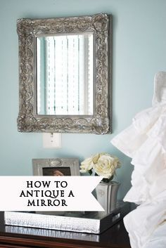 How to make an outdated mirror look antique with silver leaf paint, antiquing glaze and french gilding wax. Home Decor Inspiration, Painting Mirror Frames, Decor, Silver Leaf Painting, Furniture, Diy Home Decor, Diy Furniture, Mirror, Home Decor