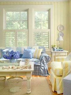 36 Stunning Yellow Cottage Living Room Decorating Ideas Your living room will be prepared for supreme summer relaxation, for yourself, your loved ones, and friends and family. A living room may be the main places in your house Cottage Living Rooms, Cottage Homes, Cottage Style, Home And Living, Living Room Decor, Cozy Cottage, Coastal Cottage, Coastal Living, Pastel Living Room