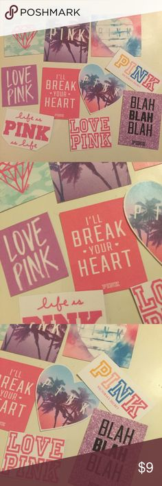 VS PINK handmade sticker pack 10 piece bundle tumblr Victoria's Secret PINK sticker collection! Handmade from the heart, laminated for a bit of extra protection. Not waterproof- perfect for personalizing your books, laptop, accessories, whatever!  Tags: vs pink, angel, love pink Accessories