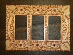 Solid wood hand carved switch or outlet plate by HOLIWOOD on Etsy, $42.00