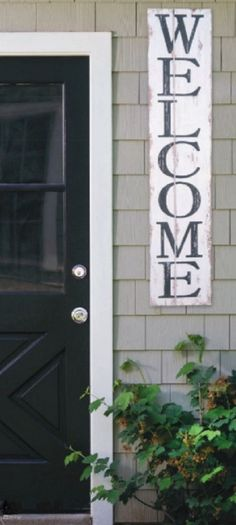 Our new WELCOME sign features black block print letters on a distressed white painted background. Solid wood, with a heavy-duty hanger for mounting on wall or slipping over a wreath hanger for your en Chimney Decor, Decor, Rustic Decor, Rustic Loft, Home Decor Items, Industrial Farmhouse Decor, Home Signs, Wood Pallet Projects, Porch Decorating