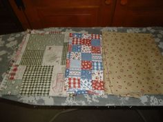 Vintage Mixed Lot of 3 Pieces Of Scrap Fabric/Material. Cotton Blend. Farm,Kitch