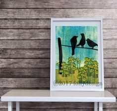 Artist Shanni Welsh's Black Birds and Poppies art print. Bird wall décor. Black Bird poster. Poppy art print. Black bird and Poppies poster.